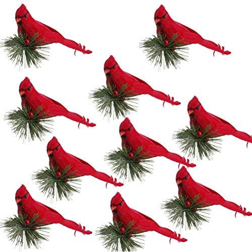 Mankoo Künstliche Kardinäle Vogel Simulation Schaum Vogel 10 pcs mit Kiefer Picks Rot Künstliche Vögel Dekor mit Clip Weihnachtshochzeitsfeier Dekor