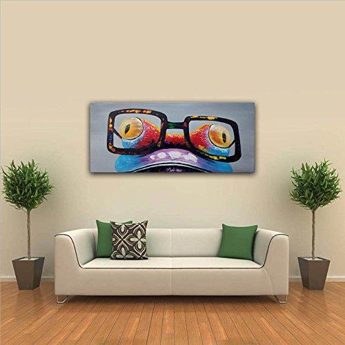 IPLST@ Pittura moderna arte della tela Funky della rana del fumetto olio animale da dipinto a mano grande parete della decorazione di arte-20x40inch(Nessuna cornice, senza barella)