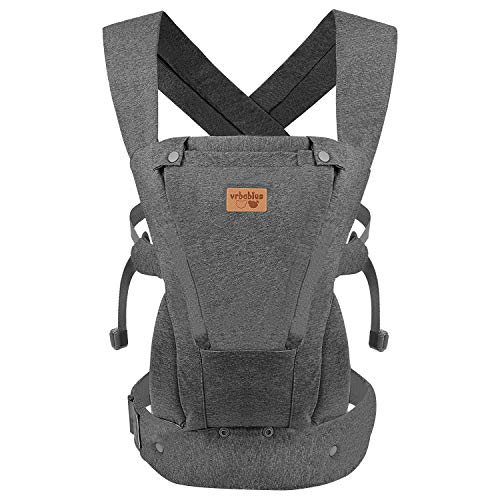Vrbabies Ergonomic Baby Carrier for Newborns to Toddlers, Skin-Friendly and Soft Front Baby Carrier Wrap, Easy Breastfeeding, Lightweight and Breathable, Perfect Baby Shower Gifts (Dark Grey)