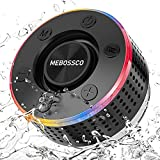 Altavoz Bluetooth 5.0, Altavoz Ducha Altavoces Inalámbrico con Potentes Ventosa, Altavoz Portátil con luz LED, Sonido Stereo 360°, HD Mic, Llamadas Manos Libres, Radio FM, IP7 Impermeable Mini Altavoz