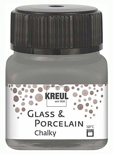 Kreul 16643 - Glass und Porcelain Chalky, sanft - matte Glas- und Porzellanmalfarbe auf Wasserbasis, schnelltrocknend, deckend, 20 ml Glas, Smoky Stone
