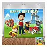 Cartoon Paw Patrol Happy Birthday Theme Photo Background 5x3ft Children Boys 1st Birthday Party Photography Backdrops Newborn Baby Shower Cake Dessert Table Decor Kids Party Banner Props Vinyl