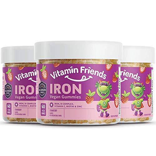 Vitamin Friends Gummy Bear Iron Supplement for Kids (3 Pack - 90 Day Supply) with B-Complex, Vitamin C, Zinc, Biotin - Iron Gummies Support Children Healthy Body Function