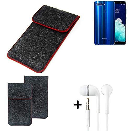 K-S-Trade Handy Schutz Hülle Für Hisense Infinity H11 Pro Schutzhülle Handyhülle Filztasche Pouch Tasche Hülle Sleeve Filzhülle Dunkelgrau Roter Rand + Kopfhörer