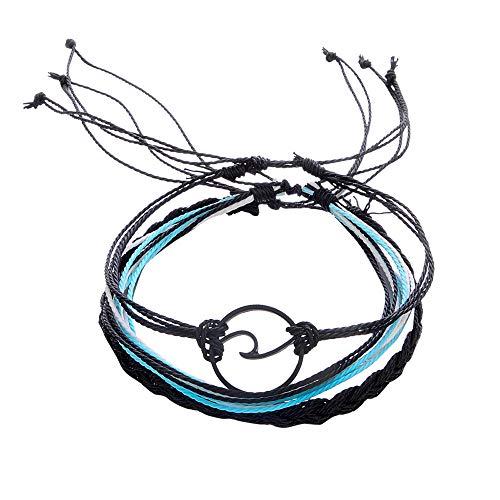 3 pulseras bohemias de plata con ondas para mujer, cuerda de playa, tobilleras, pulseras de hija, hijo, regalo de cumpleaños (Multicolo