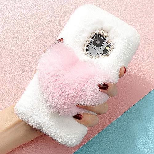 LAPOPNUT für Samsung Galaxy S9 Plus Hülle 3D Diamant Flauschig Kunstfell Rhinestone Bling Kristall Shining Handmade Handyhülle TPU Silikon Weich Handytasche Abdeckung, Pink
