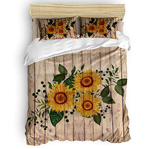 Duvet Cover Set 4 Pieces,Super Soft Bedding Down Comforter Cover with Zipper Closure, Machine Washable Breathable Microfiber Polyester Duvet Cover,Sunflower Queen