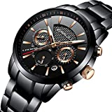 CRRJU Men's Watches Business Stainless Steel Wristwatches Men Black Strap Sport Fashion Quartz Analog Watches Waterproof Chronograph Wrist Watch,Black/Rose Gold