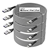 4Pack【Apple MFi Certified 】iPhone Charger Cable,10 ft iPhone Charger Cord,iPhone Charger 10ft, Lightning Cable for iPhone 12/11/11Pro/11Max/ X/XS/XR/XS Max/8/7/6/5S/SE/iPad Mini,More(Silver)
