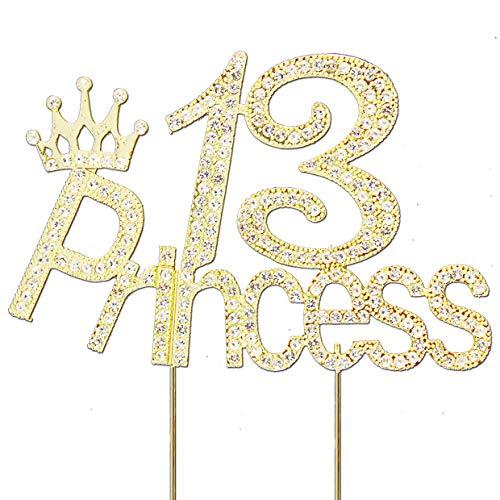 Glitter Crystal Gold Princess 13 Cake Topper | Happy 13th Birthday Rhinestone Diamond Bling Sparkle Gem Monogram Number Party Favor Decoration Idea Perfect Keepsake. (Princess 13 Gold)