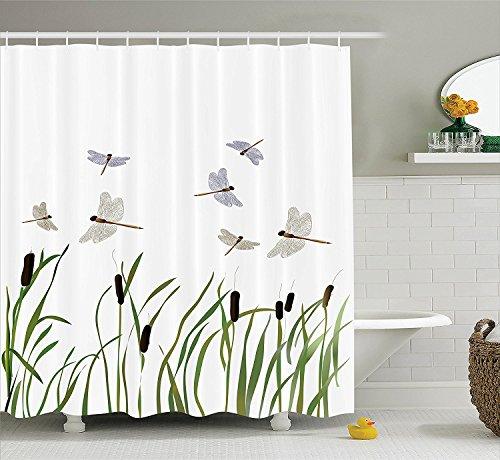 Violetpos Fliegende kleine Libellen über hohe Schilf Duschvorhang Badezimmer Dekorative 160 x 180 cm
