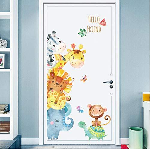 Estilo de pintura a mano Pegatinas de puerta de dibujos animados Pegatinas de pared de animales para niños RoomArt Diseño Pegatinas decorativas Calcomanías de pared Decoración para el hogar-E