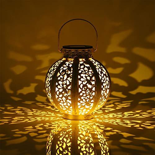 Aigostar Opal - Lámpara solar decorativa para jardín y exteriores. Luz cálida 3000K, IP44 a prueba de agua. Farol solar para exterior de metal troquelado, perfecto para sobremesa o para colgarlo.