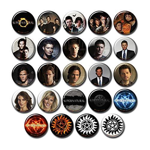 24 pcs Supernatural Fridge Magnets Set Pack 1.5'/3.7cm, TV Show Logo & Casts, 253-P001