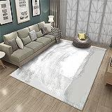 Blanco Gris Abstracto Tinta Pintura Estilo Arte Elegante Ocio Estudio Mesa de Centro Alfombra-El 100x200cm Decoración del hogar para salón y Dormitorio