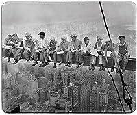 アートマウスパッド-建設労働者のクラシックな写真付きの天然ゴム製マウスパッド'昼食Atop A超高層ビル、ニューヨークビンテージ写真-ステッチエッジ-9.5x7.9インチ
