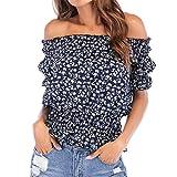 Blusas de Gasa con Hombros Descubiertos y Estampado Floral para Mujer Blusa de túnica con Volantes de Manga Corta para Mujer Blusas Florales con Estampado Floral de Manga Larga Camisas de Verano Sexy