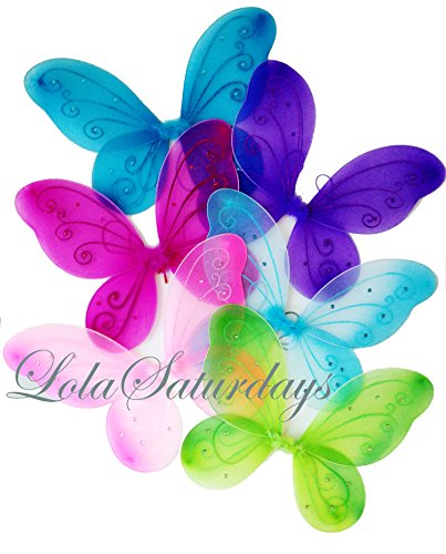 LOLASATURDAYS 6 Pack Assorted Fairy Wings (22' W X 15' L)
