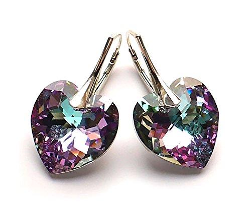 Crystals & Stones *Vitrail Light* *HERZ* 14 mm Farbe - 925 SILBER Ohrringe Damen Ohrhänger mit Kristallen von Swarovski Elements - Wunderbare Ohrringe mit Geschenkbox