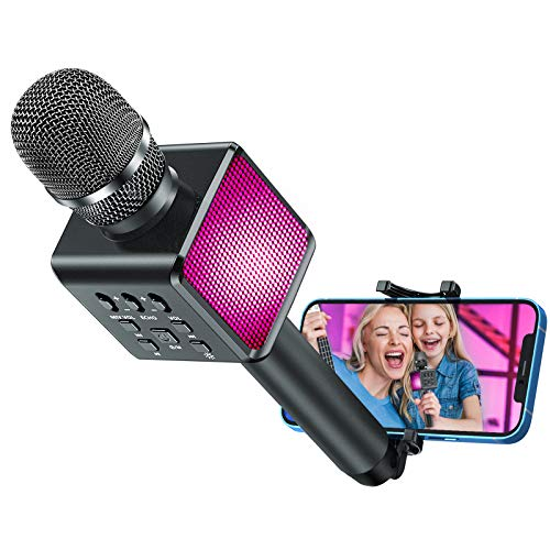 LELONG Karaoke Microphone with Controllable LED Lights, 4 in 1 Wireless Bluetooth Hi-Fi Karaoke Microphone for Kids Adults with Phone Holder, Handheld Karaoke Mic for Android/iPhone/PC - Grey