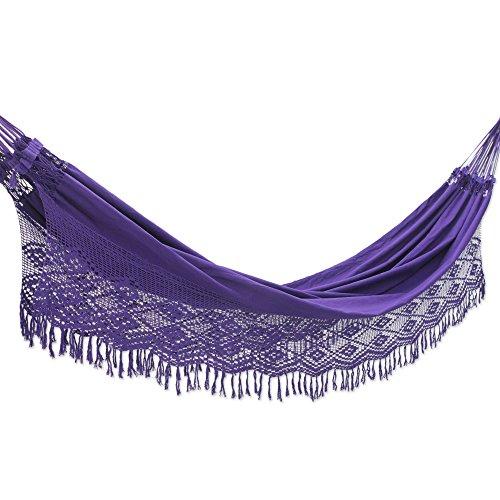NOVICA Bright Purple Cotton Fabric 2 Person XL Brazilian Hammock with Crochet Fringe, Maracuya' (Double)