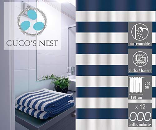 Cuco's Nest douchegordijn Marinera douchegordijn textiel. 100% polyester, waterdicht, anti-schimmel, antibacterieel.
