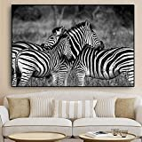 Black and White African Zebra Wild Animal Landscape Canvas Painting Posters and Prints Wall Art Picture Living Room 20x30cm