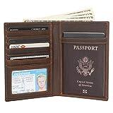 Polare Luxury RFID Blocking Leather Passport Holder Travel Wallet For Men and Women (Dark Brown)