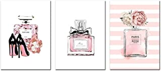 3PCS Peinture abstraite Affiches Perfume Art Impression sur toile toile de peinture Parfum rose Photo Mode Art Affiches et...