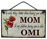 Vintage Style Sign with Poppy Flower Saying, 'The only thing better than having you as a MOM is my children having you as their OMI' Decorative Fun Universal Household Grandma Nickname Signs (5x8)