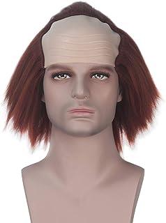 Miss U Hair Men Adult Synthetic Auburn Creepy Clown Bald Wig Halloween Weird Cosplay Costume Wig
