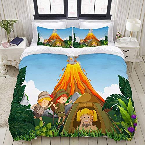 SmallNizi Juego de Funda nórdica, Camping Kids Camp Next Volcano Illustration, Juego de Cama Decorativo Colorido de 3 Piezas con 2 Fundas de Almohada