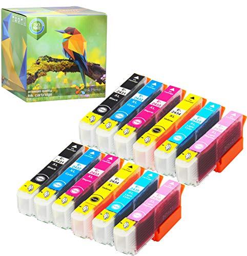 Cartuccia d'inchiostro Ink Hero compatibile in sostituzione dir Epson 24XL (Nero, Ciano, Magenta, Giallo, Ciano chiaro, Magenta chiaro, confezione da 12)