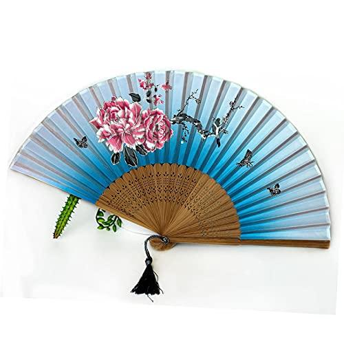 RYZMWQYBH Ventilador de Techo clásico de Las Mujeres de Alta Gama Japonés Fan de plegamiento Antiguo Plegado Estilo japonés Sonrisa Regalo Ventilador(Sector del café)