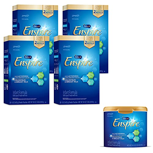 Enfamil Enspire Infant Formula with Immune-Supporting Lactoferrin, Brain Building DHA, 5 Nutrient Benefits in 1 Formula, Our Closest Formula to Breast Milk, 1 Reusable Tub & 4 Refill Boxes, 140.5 Oz