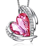 CDE 18K White Gold Necklace for Women Jewellery Gifts, Love Heart Pendant Necklace Gifts for Wife/Mum/Friend/Birthday/Anniversary Day(White Gold Fushcia)