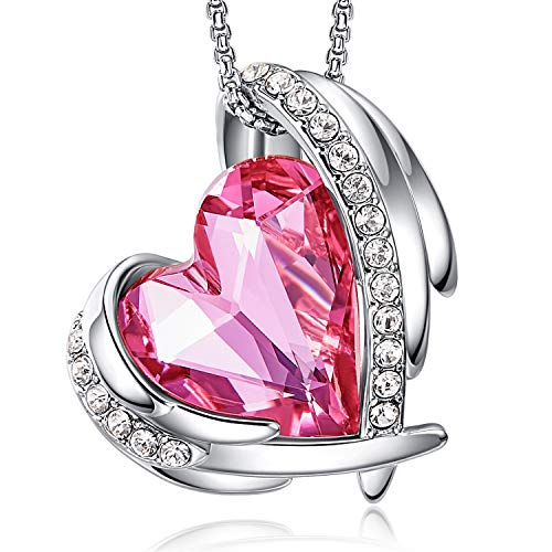 CDE Ketten für Damen Rosegold Herz, Halsketten für Frauen Schmuck, mit Elegante Geschenkverpackung, 45CM Kettenlänge Geschenke für Valentinstag/ Party / Jubiläum / Geburtstag (Platin Pink)
