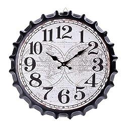 QINGQING Wall Clock Vintage Retro Metal Large Oversized 3D Bottle Cap Noiseless Quartz Movement Clocks for Home Office Decoration for Office/Kitchen/Bedroom/School Decorative