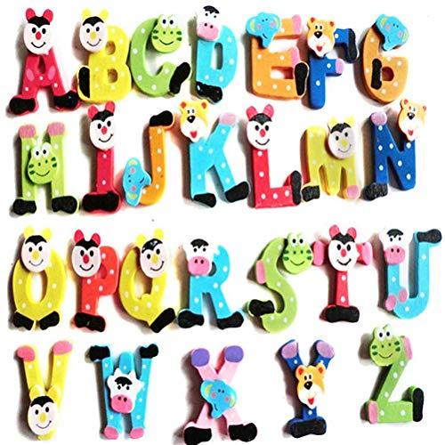 Preisvergleich Produktbild PMSMT NEU 26pcs Holz Cartoon Alphabet AZ Magnete Aufkleber Kind pädagogische Spielzeugmode