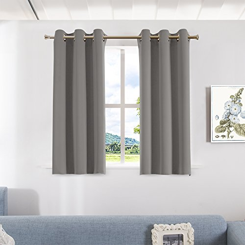 Aquazolax Bedroom Blackout Curtains and Drapes - Solid Thermal Insulated Grommet Blackout Drapery Panels for Window, Set of 2 Panels, W42 x L45 - Inch, Grey