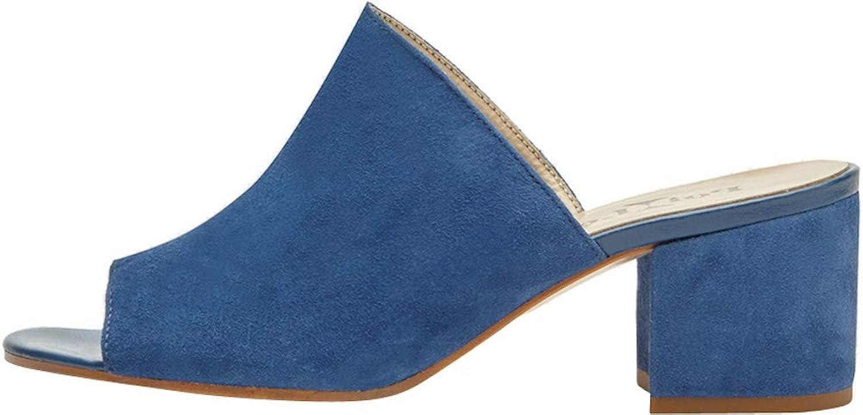 Poi Lei Lei Damen-Schuhe Pantoletten Coco Blau Sandaletten Blockabsatz Veloursleder  Kunden erster Ruf zuerst