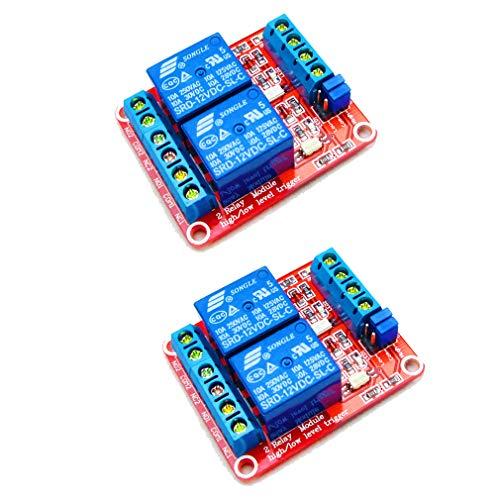 HiLetgo – DC, 12 V, 2-Kanal-Relais-Modul mit isoliertem Optokoppler, High- und Low-Level, H/L-Level, Trigger-Modul für Arduino, 2 Stück