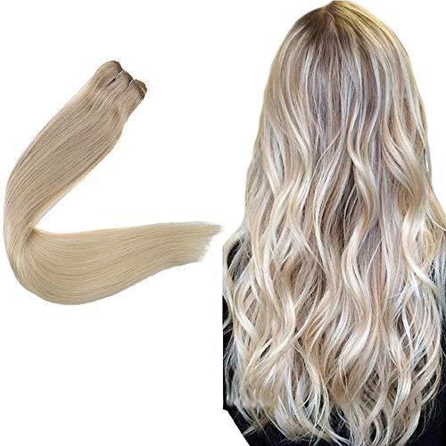Easyouth EchthaarTressenWeaving 55cm 100g Ein Bundle #18/22/60 Aschblond Mischen Hellblond Und Platinblond Real Hair Sew in Extensions