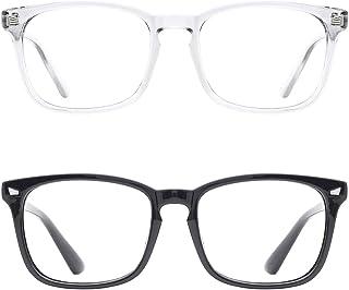 2 Pack Blue Light Blocking Glasses for Women Men Nerd Computer Glasses UV Protection Anti Eyestrain