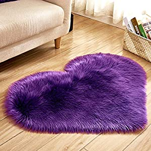 Heart Shaped Soft Faux Sheepskin Fur Area Rugs for Home Sofa Floor Mat Plush, 3ft x 2.2ft (Violet)