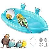 Bagno per uccelli per pappagalli,Vasca da bagno Bird con specchio,Vasca da bagno Bird,Accessori doccia gabbia per uccelli,Bagno per uccelli in plastica,Vasca da bagno con specchio Bird
