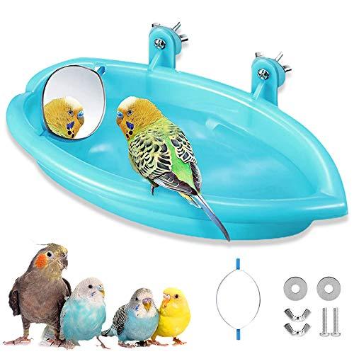 Bañera pájaro para loros,Bañera Bird con espejo,Accesorios de ducha de jaula de pájaros,Bañera de plástico para pájaros,Bañera con espejo Bird,Bañera para pájaros