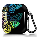 ZacharyMarcus Compatible with AirPods Case, Premium TPU Shockproof Protective Cover for AirPods 2 & 1, AirPods 2 & 1 Charging Case Headphone Case with Keychain - Butterfly(No LED Light)