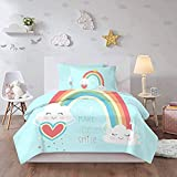 HUA JIE Funda Nordica Rainbow Bedding Sets For Girls Queen 3 Piece Cute Cloud Cartoon Turquoise Duvet Covet Set 1 Duvet Cover + 2 Pillowcases