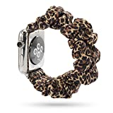WONMILLE Scrunchie Elastic Wrist Bracelet Compatible for Apple Watch Band 38mm/40mm, Fancy Elastic Hair Wristbands Replacement for iWatch Series 5/4/3/2/1 Women Girls (Leopard, 38mm/40mm)